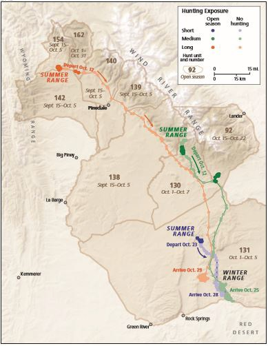 Map of Mule Deer Long.Medium.Short Migration Routes